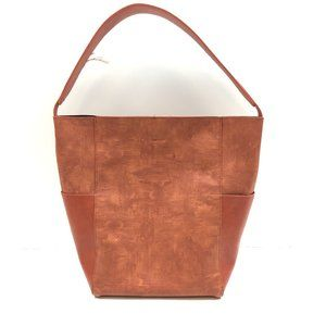 Anthropologie perforated brown bag and pouch